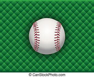 Baseball Illustration on a Green Checkered Background