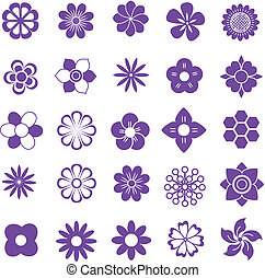 purlpe vector set, flowers icon