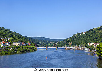 neckar river panorama in heidelberg