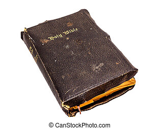 Old Bible - Old Christian Bible on a white background.