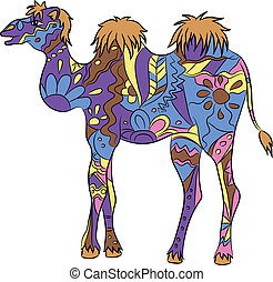 colorful camel - vector illustration of colorful camel