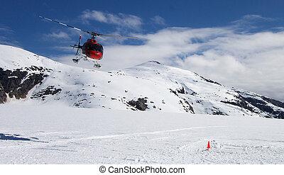 Helicopter Glacier Landing - Helicopter landing on Alaskan...