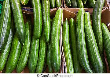 mercado, pepino, verde, venda, pepinos