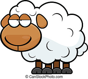 Cartoon Sheep Tired - Cartoon illustration of a sheep with a...