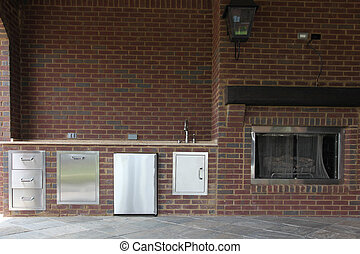 Tennesee Home Patio Kitchen and Fireplace - Image of a...