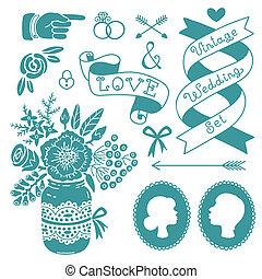 Wedding set of vintage design elements. Vector illustration.