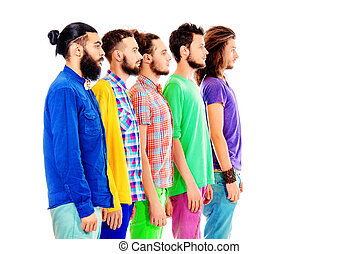 similar - Portrait in profile of group of modern bearded men...