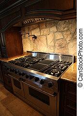 Tennesee, hogar, gas, inoxidable, Acero, estufa, horno