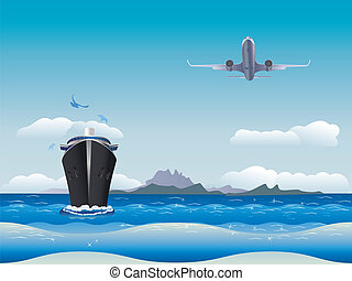 Airplane and Ship - Big airplane in the sky and cruise liner...