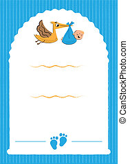 Baby Shower Party Invitation with stork illustration