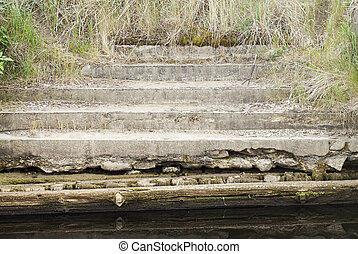 old steps leading down into sea - grunge old steps leading...