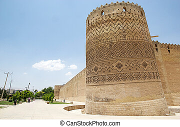 Shiraz - Tower and wall of the Arg of Karim Khan fortress....