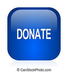 donate icon - blue glossy computer icon