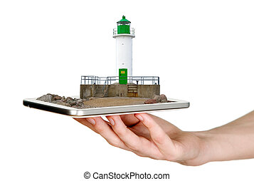 Man is showing white lighthouse with green details through mobile phone