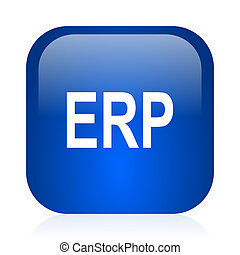 erp icon - blue glossy computer icon
