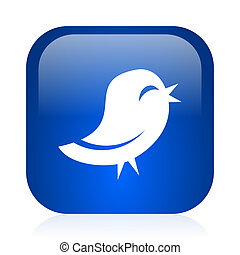 twitter icon - blue glossy computer icon
