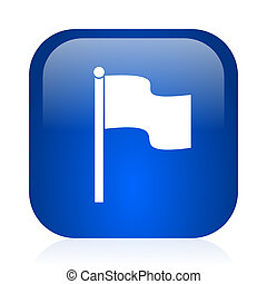 flag icon - blue glossy computer icon