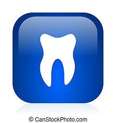 tooth icon - blue glossy computer icon