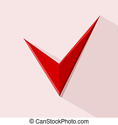 Red Check mark for design. Stockillustration. Vector