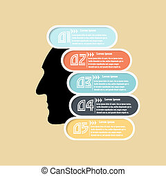 Abstract silhouette of a man's head. Basis for infographics. Vec