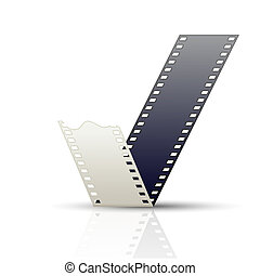 Curved Filmstrip on white background with reflection. Vector ill