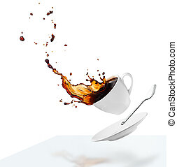 spilling coffee - cup of spilling black coffee creating...