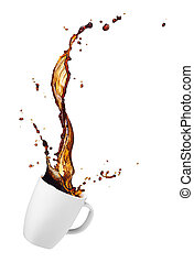 coffee splash - cup of spilling coffee with splash isolated...