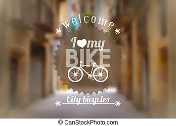 Bicycle background - Vintage design touristic lettering with...