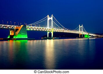 Evening View of Gwangali Bridge - Kwangali Bridge lit up...