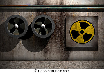 nuclear symbol - symbol of nuclear danger on a dirty room...