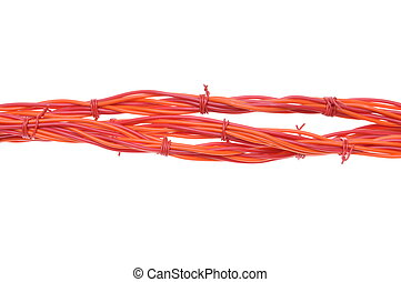Electrical wires isolated on white background