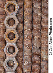 Rusted bolts and nuts - Rusted long bolts and nut