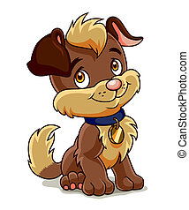 Fun puppy - Cute brown puppy sits and looks kindly on you