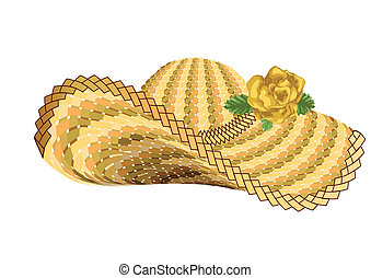 sun woman hat isolated on white background