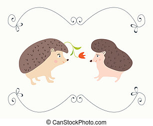 Love valentine card with hedgehogs - cute design with frame