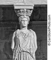 cariátide, antiguo, atenas, estatua, grecia