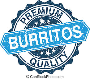 Burritos grungy stamp isolated on white background