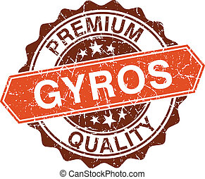 Gyros grungy stamp isolated on white background