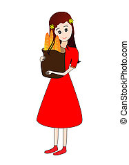 Girl holding a grocery bag - An illustration of a young...