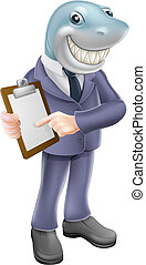 Businessman shark contract - An illustration of a cartoon...