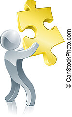 Jigsaw piece mascot - Illustration of a silver mascot man...