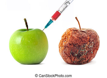 Green and rotten apple - Green and rotten Isolated odject...