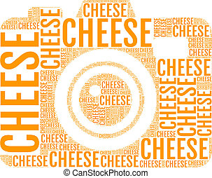 cheese photo camera, vector - photo camera with words...