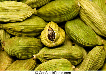 Cardamom-useful fruits - Cardamom grains This shot can be...