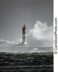 Storm - Lighthouse of the river Ave entrance in a stormy...