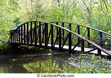 Steel Bridge Over Stream - An old steel bridge over a river...