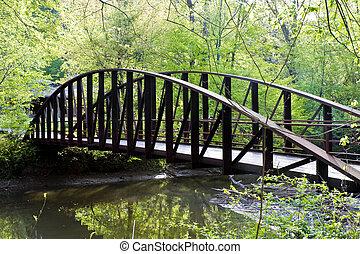 Steel Bridge Over Stream - An old steel bridge over a river...