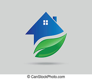Green Eco House with leaf