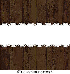 Wooden background with white napkin Vector illustration