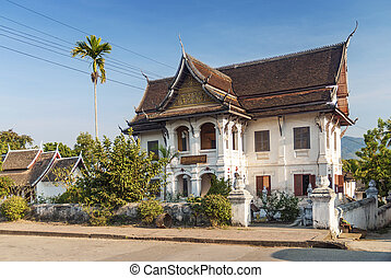 colonial house in luang prabang in laos - french colonial...
